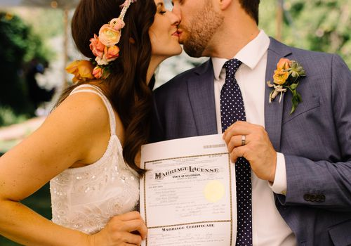 Bride and Groom Signing Marriage License