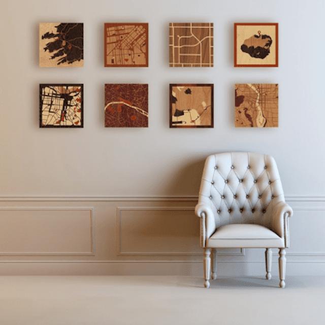 Custom Wood Inlay Maps