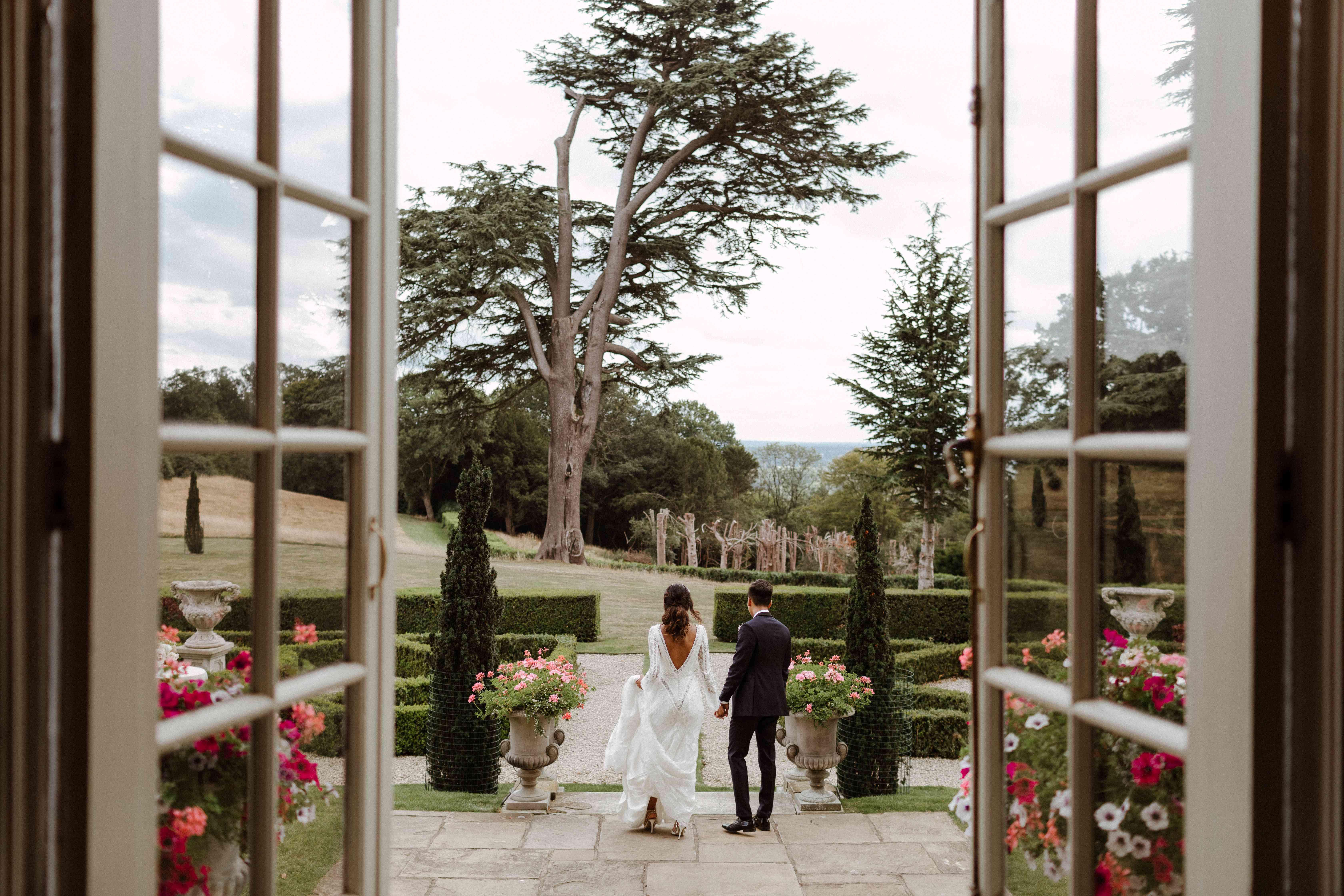 The couple in a garden