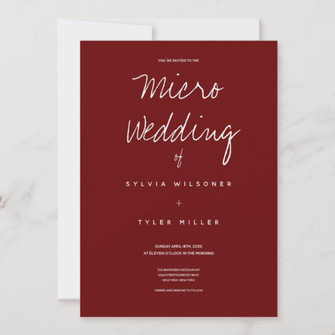 Holidayday Design for Zazzle Micro Wedding Burgundy Typography Minimal