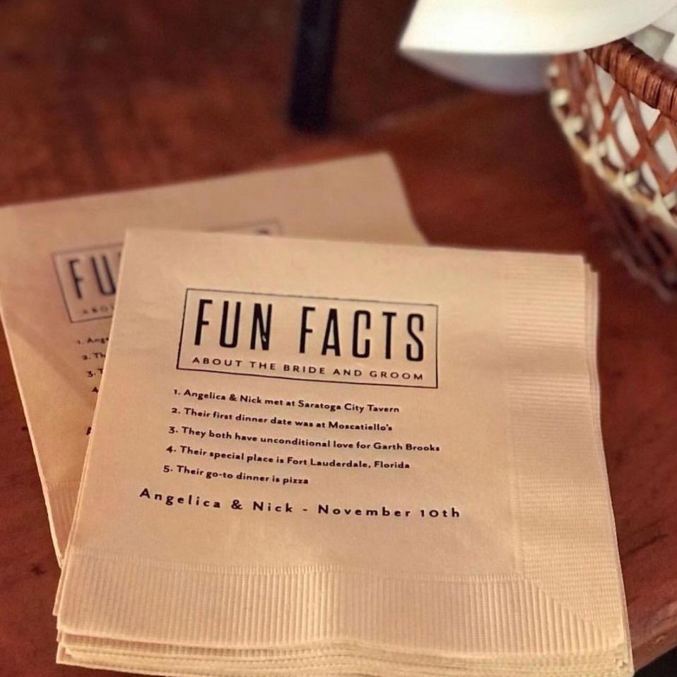 napkins with fun facts on them