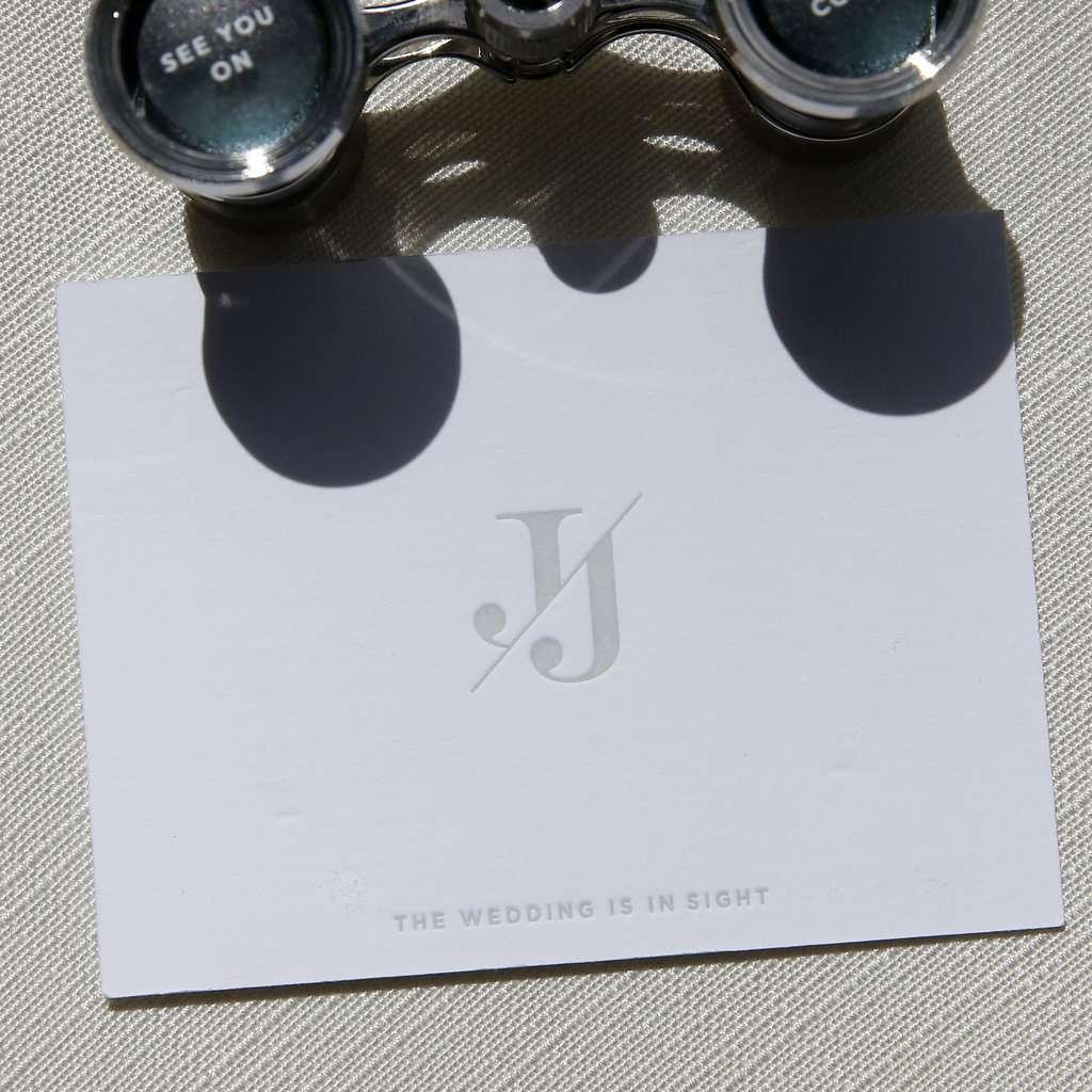 minimalist california celebration, opera glasses wedding invitation