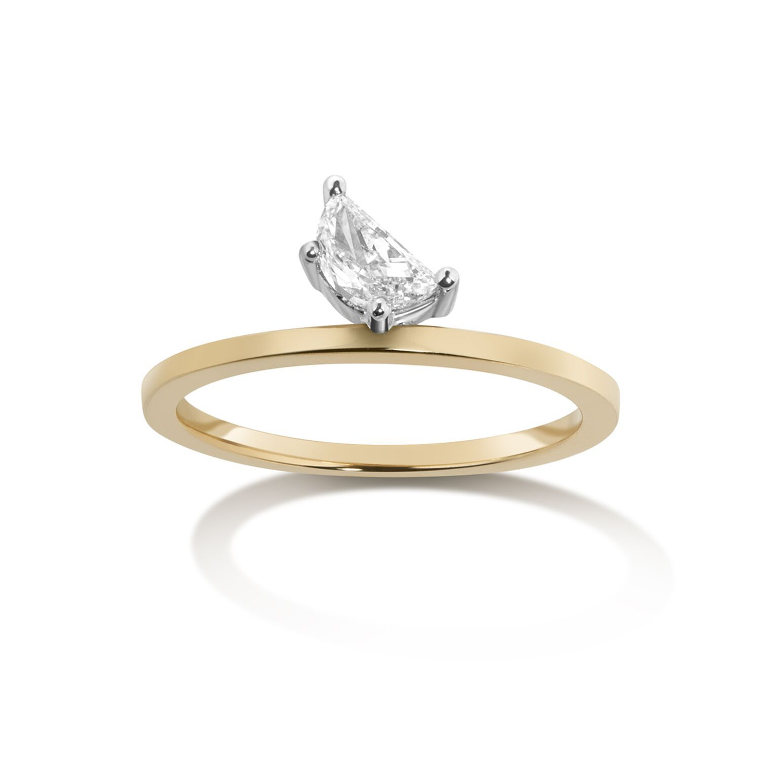 Moon diamond engagement ring with yellow gold band on a white background.