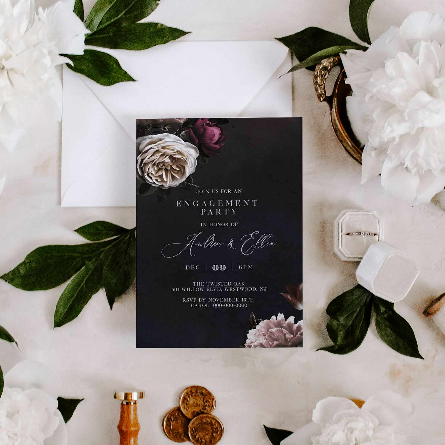 Black with floral engagement party invitation