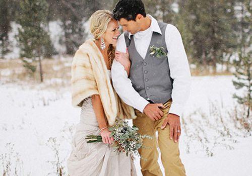 winter couple wedding
