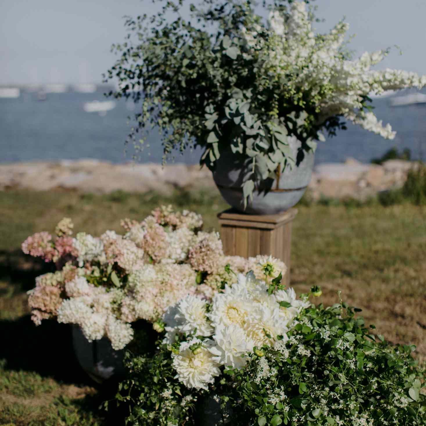 at-home rustic massachusetts wedding, ceremony flower arrangements