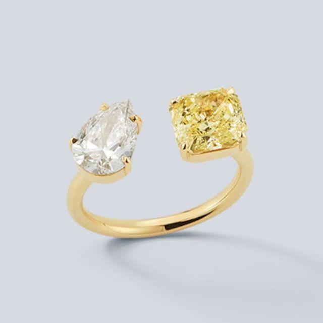 Jemma Wynne Diamond Pear and Radiant Canary Diamond Open Ring