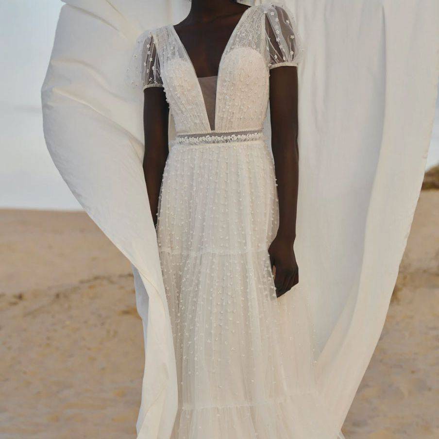 lace and pearl short sleeve gown