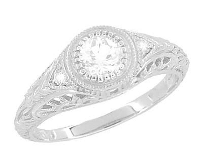 Antique Jewelry Mall Art Deco Filigree White Sapphire Palladium Engagement Ring