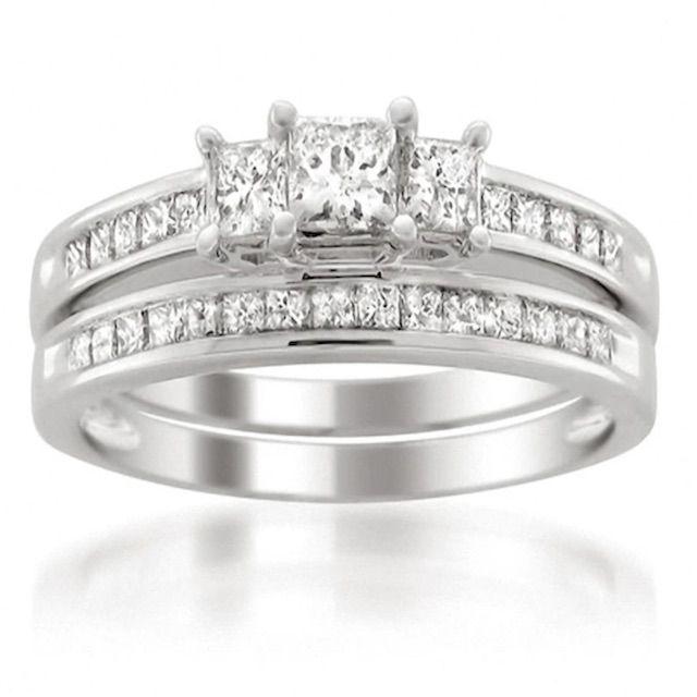 Zales 1-1/2 CT. T.W. Princess-Cut Diamond Three Stone Bridal Set