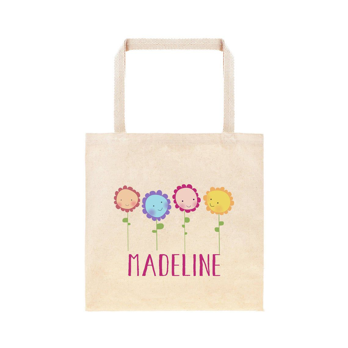 Etsy Happy Flowers Personalized Tote Bag