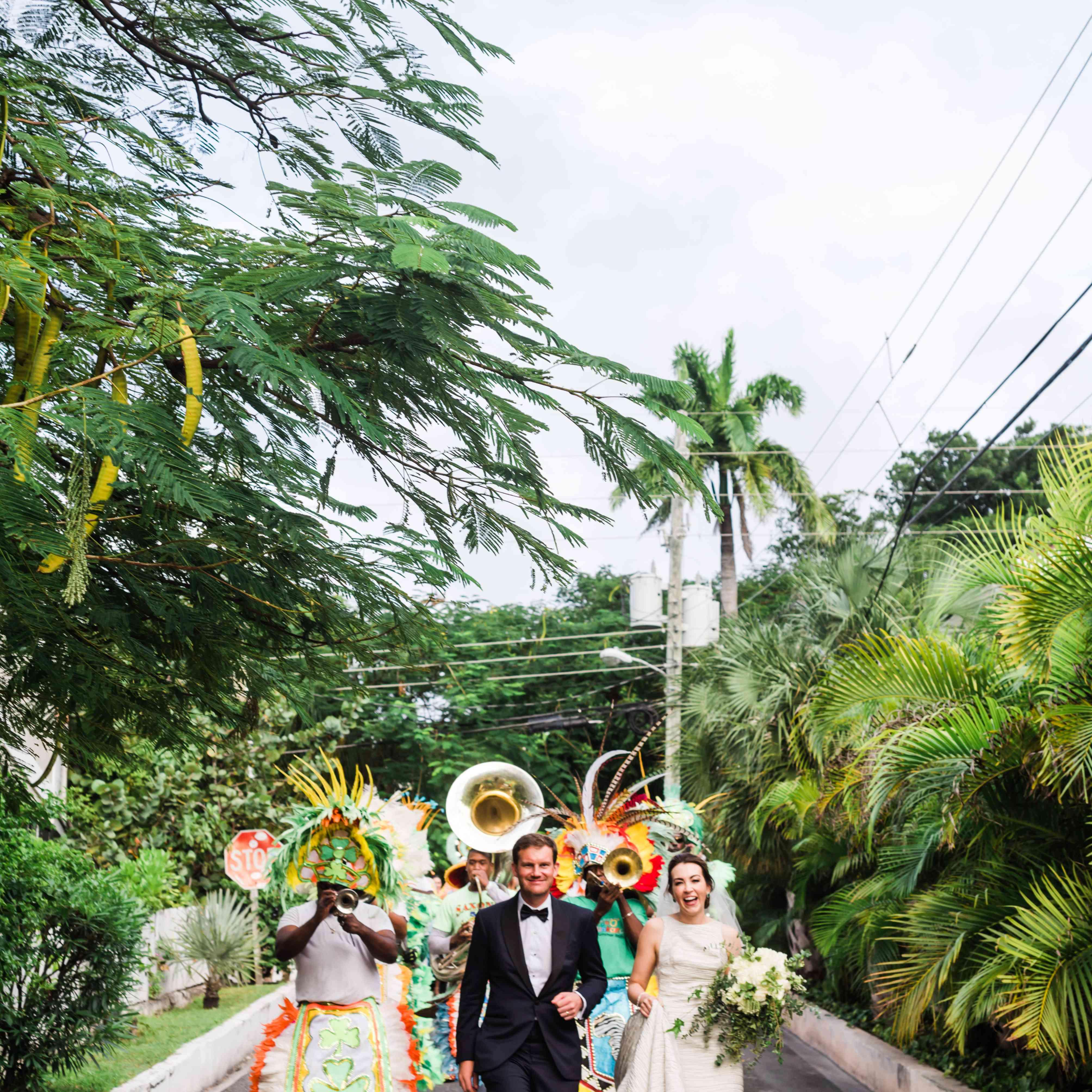 <p>bride and groom bahamas parade</p><br><br>