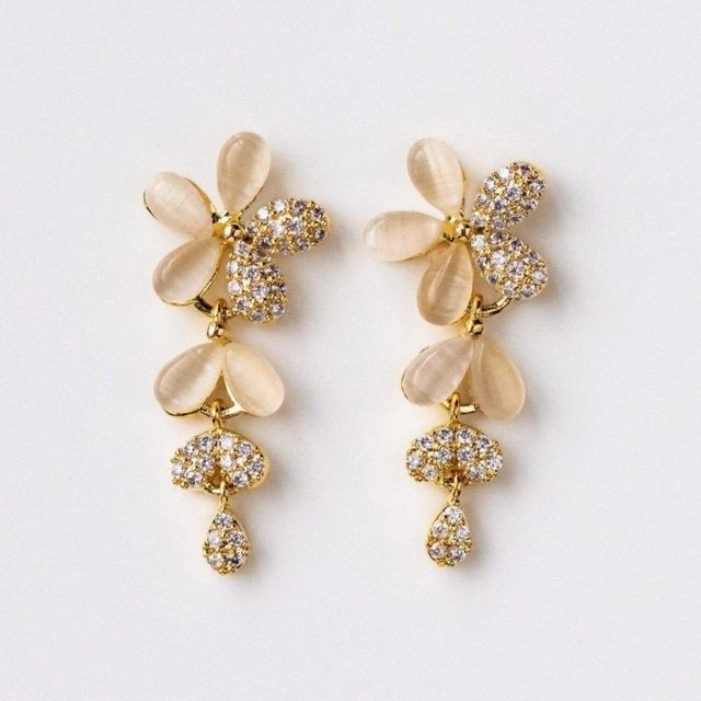 White hydrangea flower earrings Bridal floral jewelry Wedding earrings for brides and bridesmaids