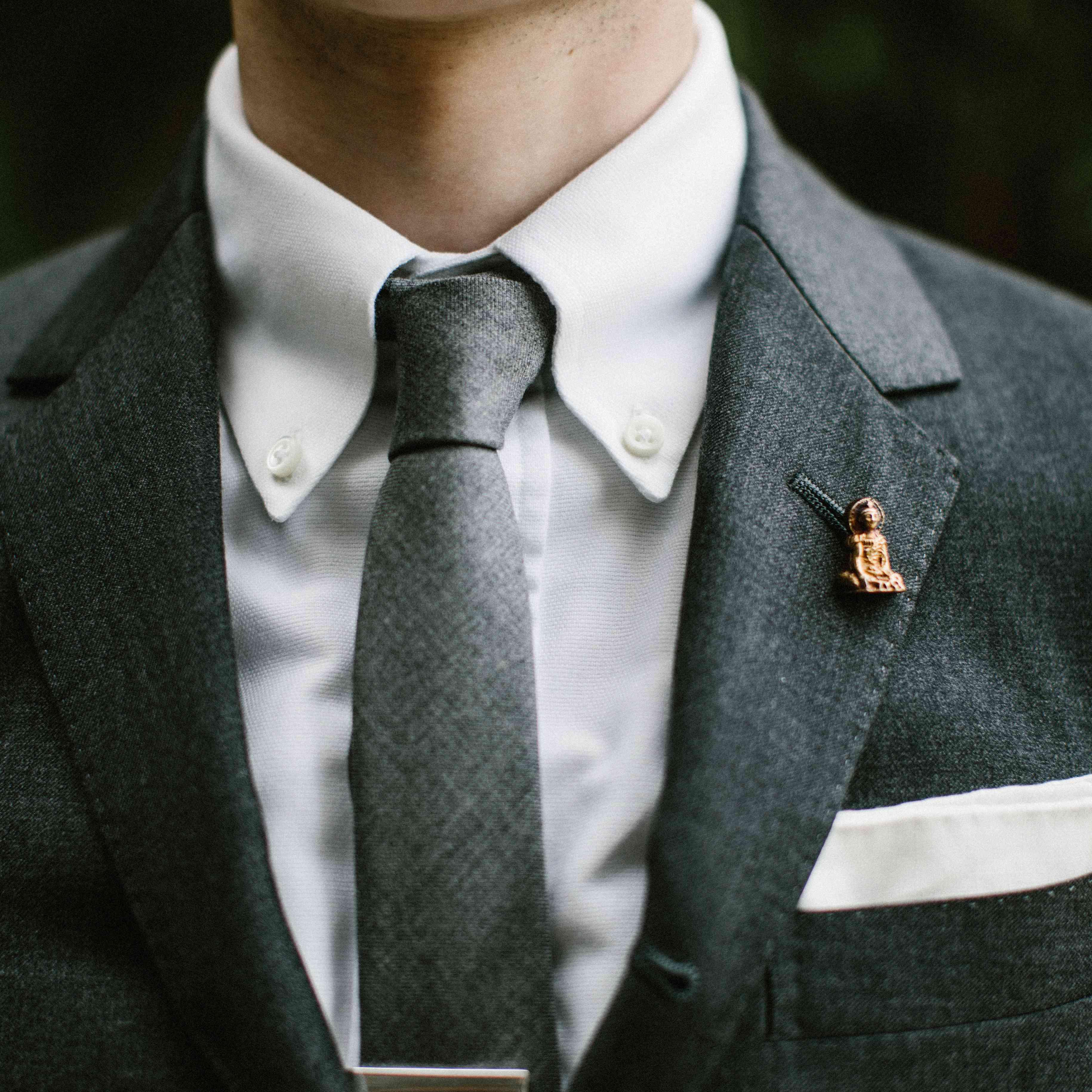 Groom tie close-up