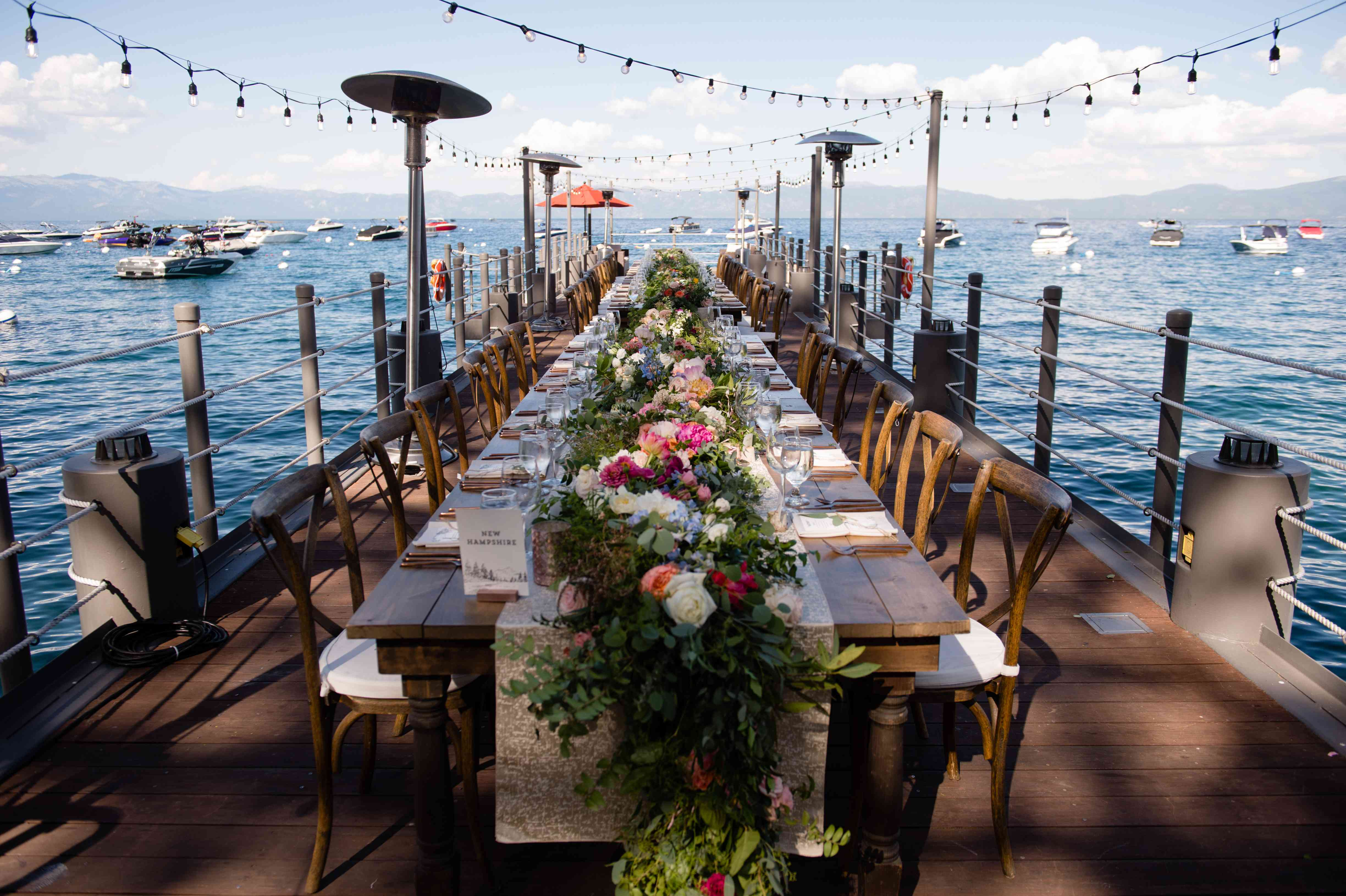 dinner table on the dock