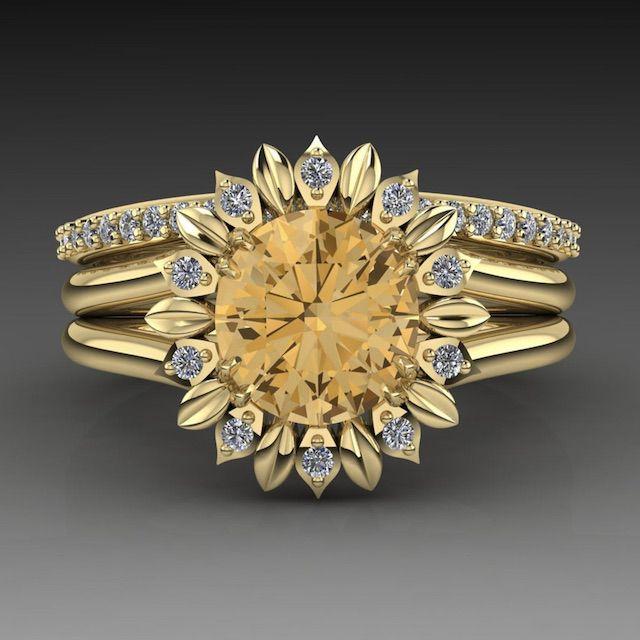 ArmanteDesign 14K Gold Sunflower Ring Set Citrine Gemstone And Diamond Floral Ring Set