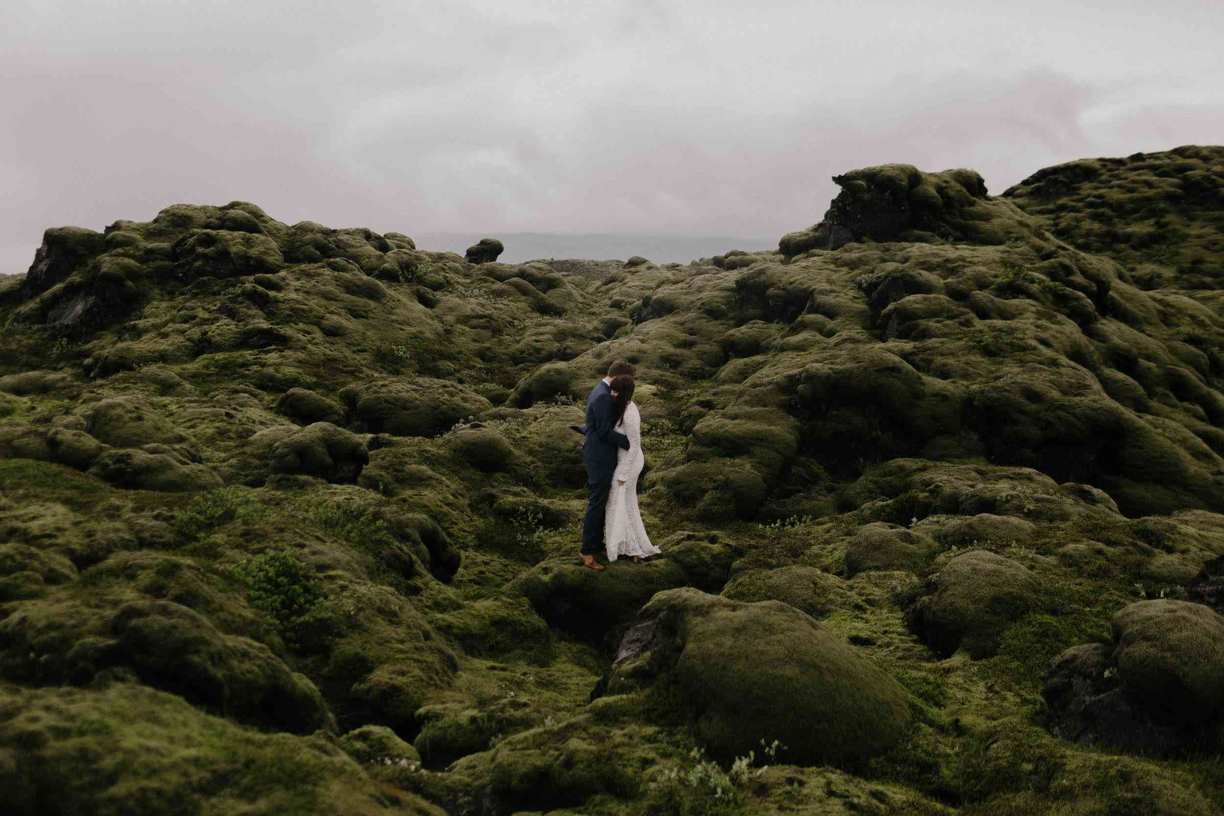 Couple at Vik's landscape in Island