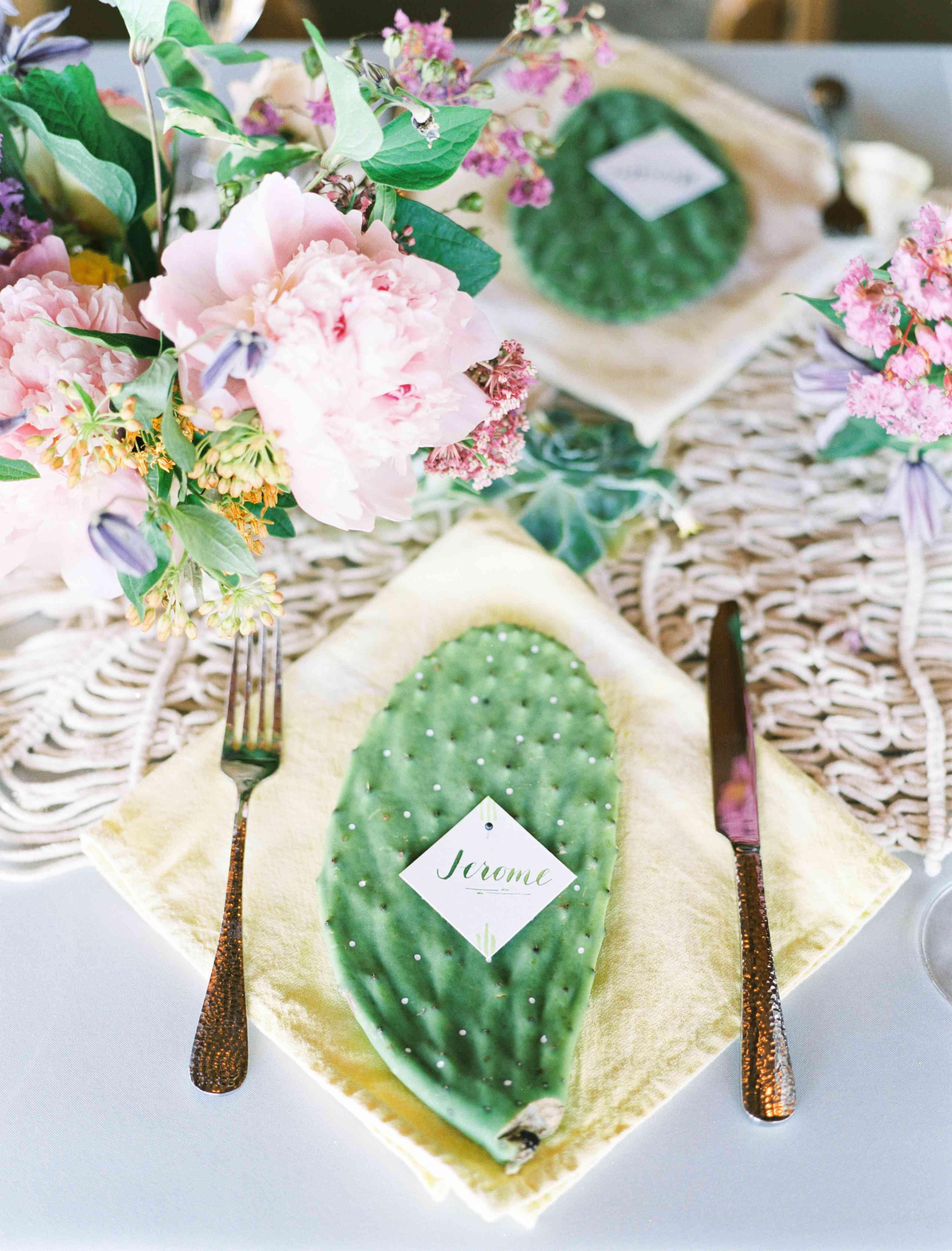 Cactus Wedding Place Setting