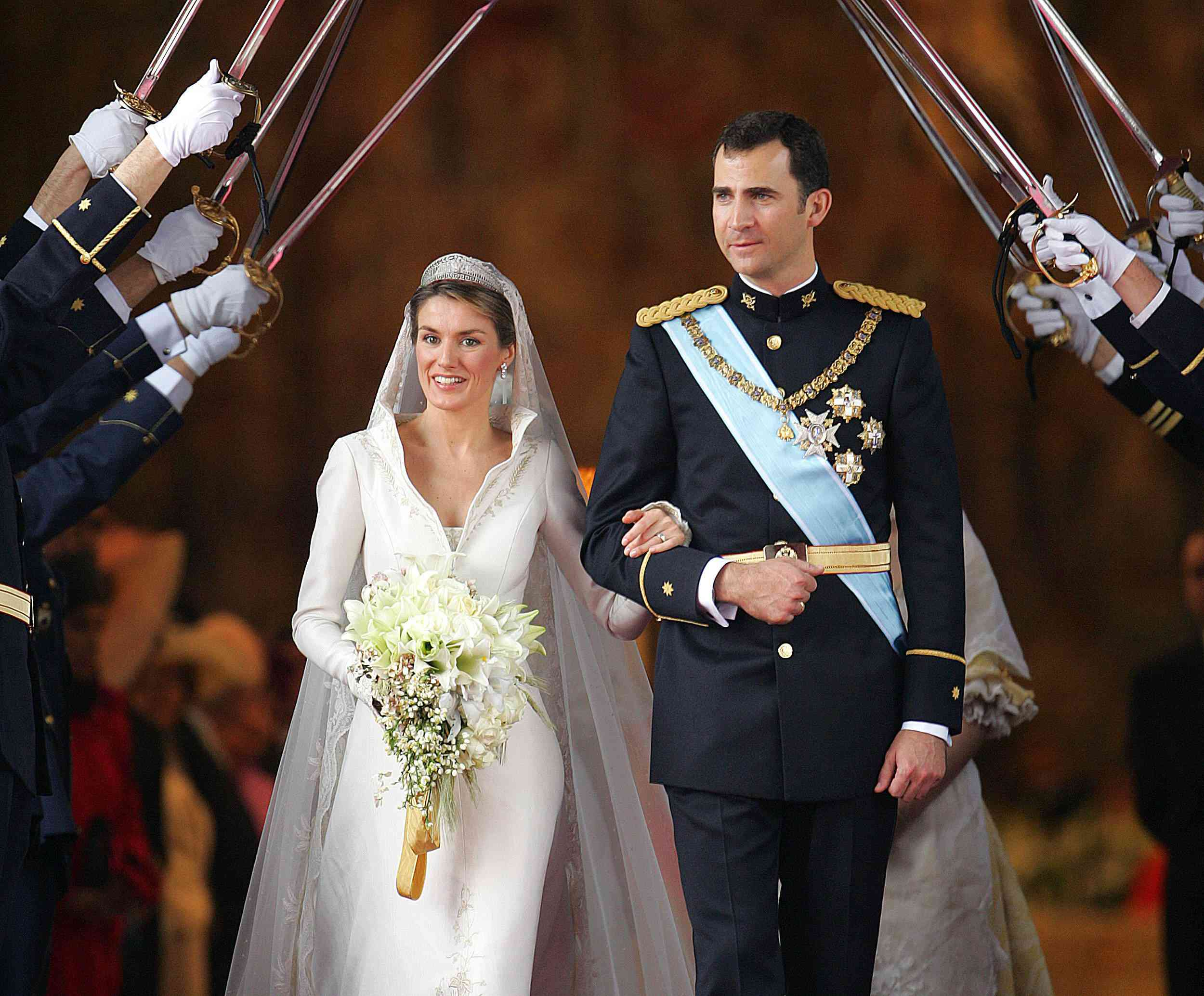 Princess of Asturias Letizia Ortiz and Spanish Crown Felipe of Bourbon on their wedding day