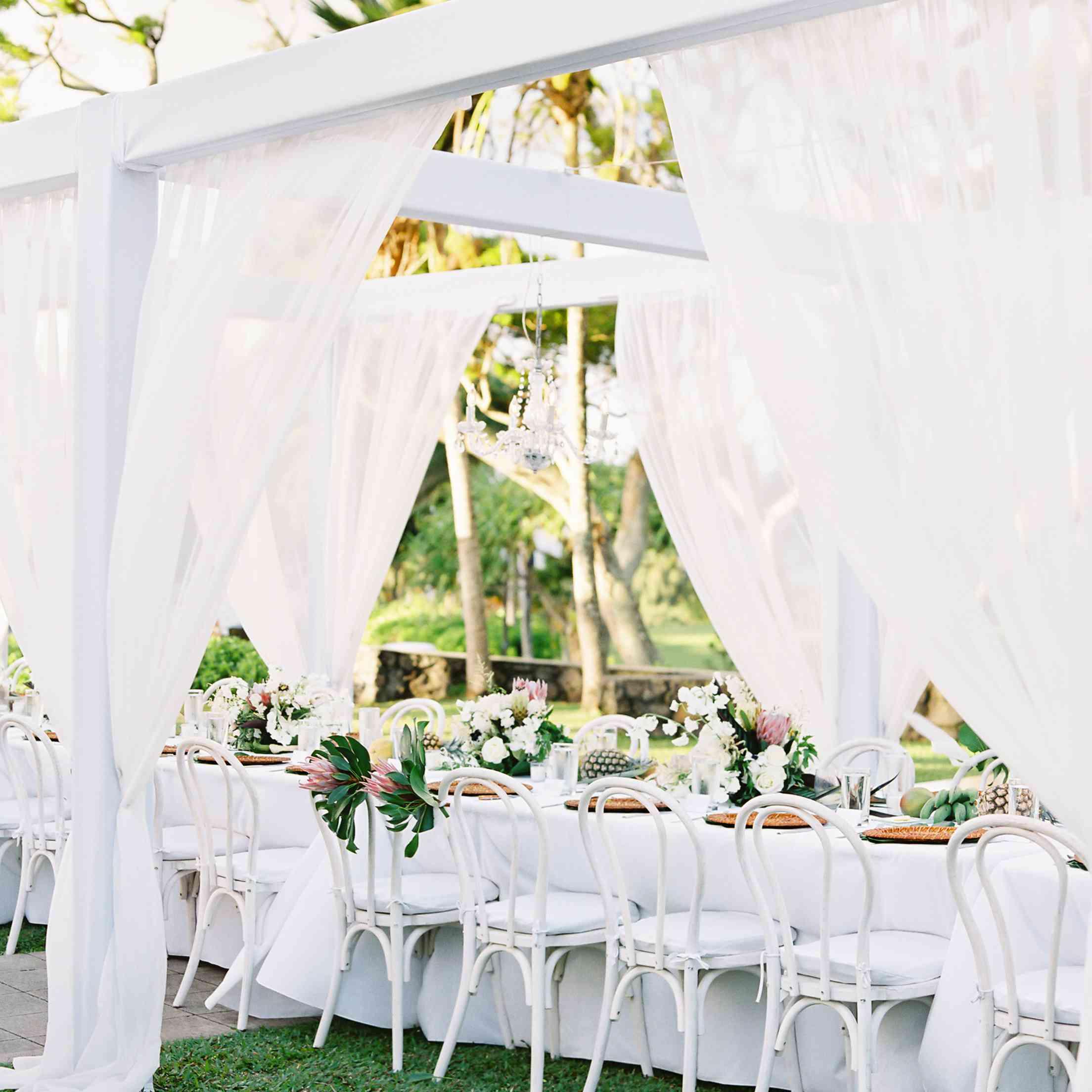 tropical maui wedding, white reception seating