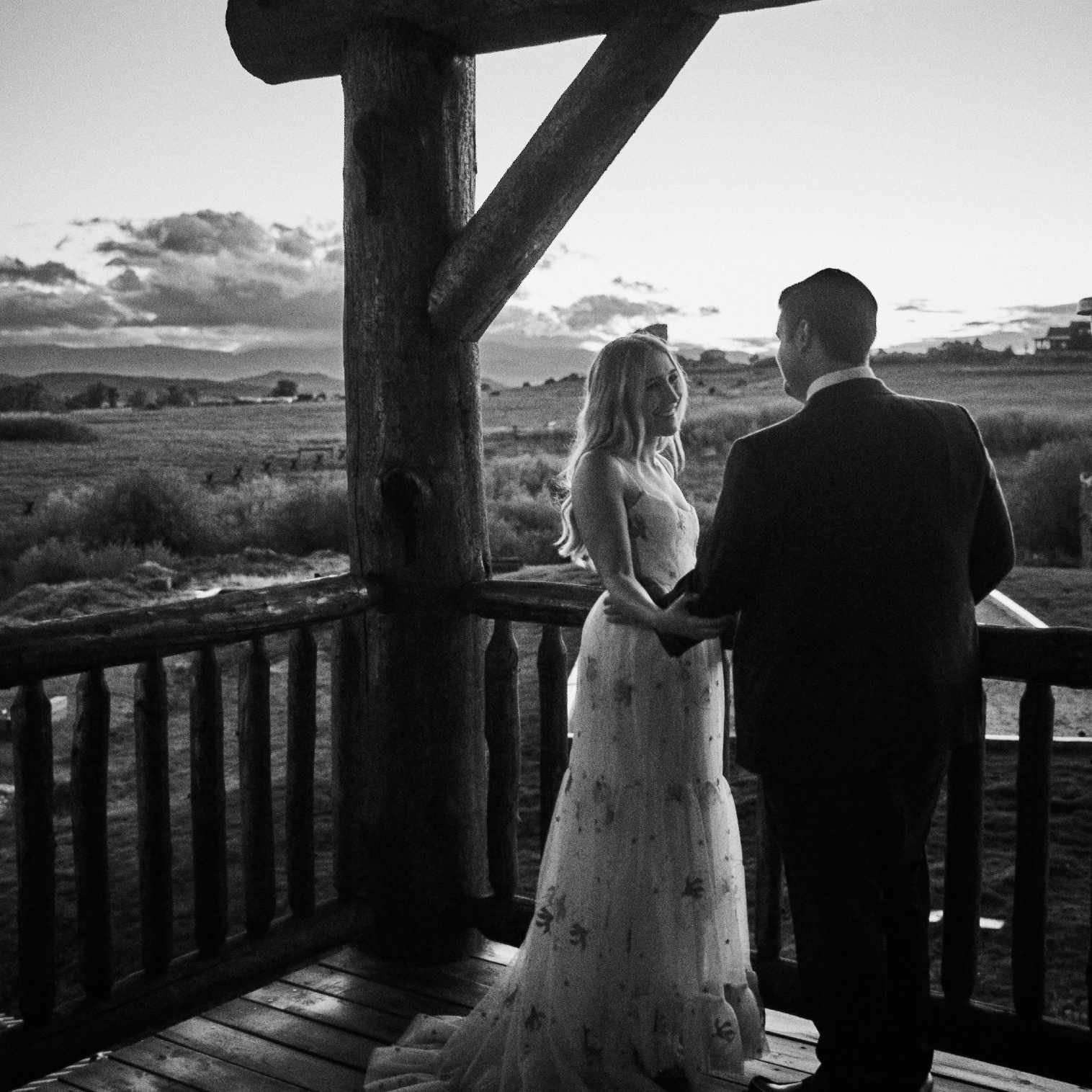 Bride and groom near sunset