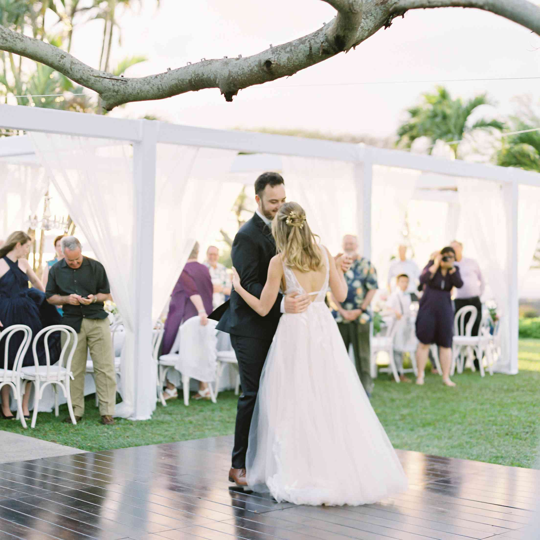 tropical maui wedding, bride and groom first dance