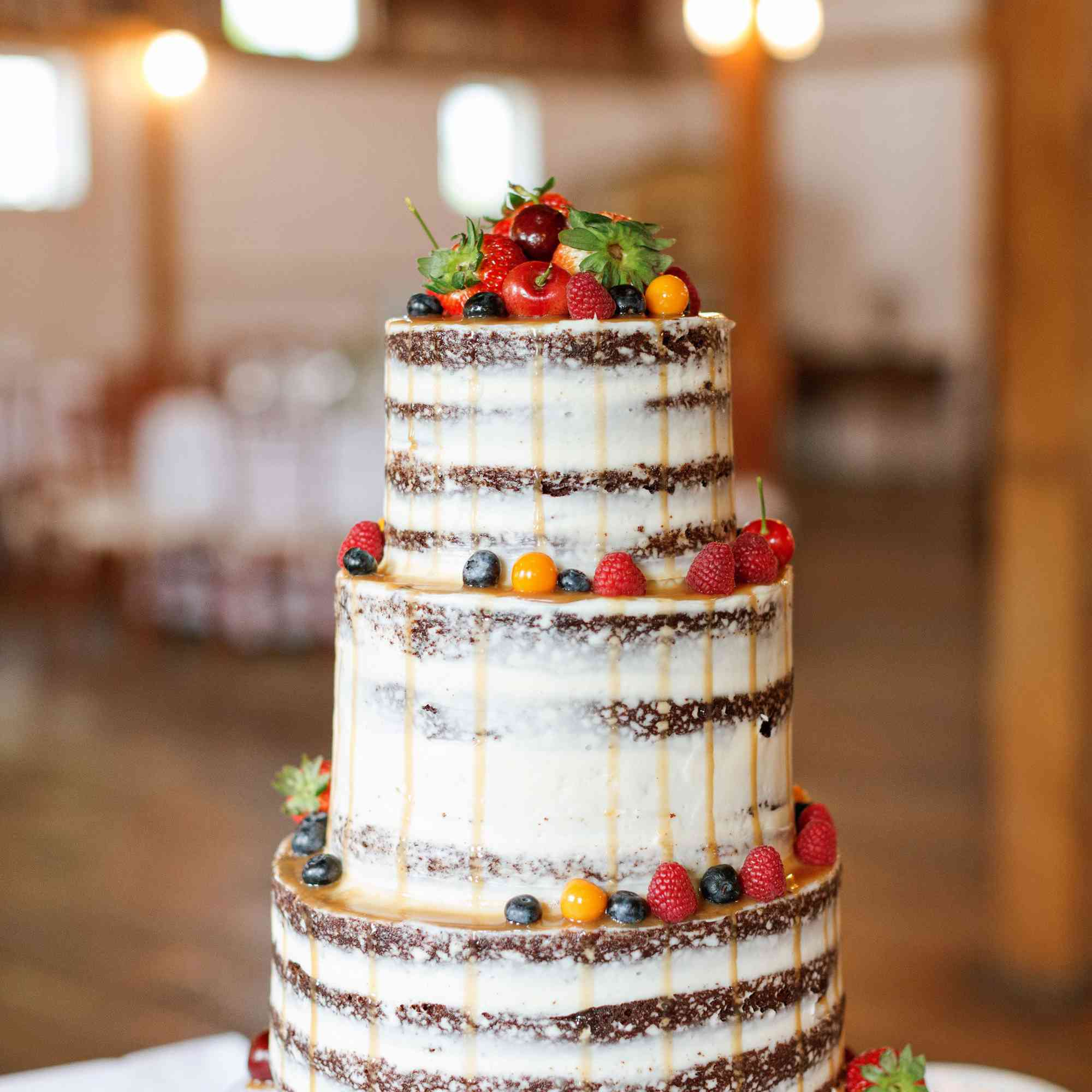 Naked cake with fruit and caramel