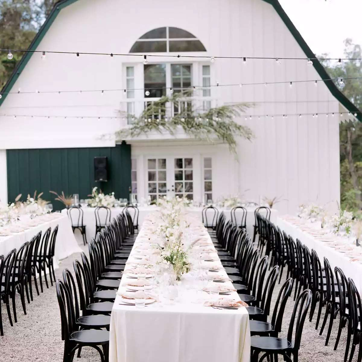black reception chairs