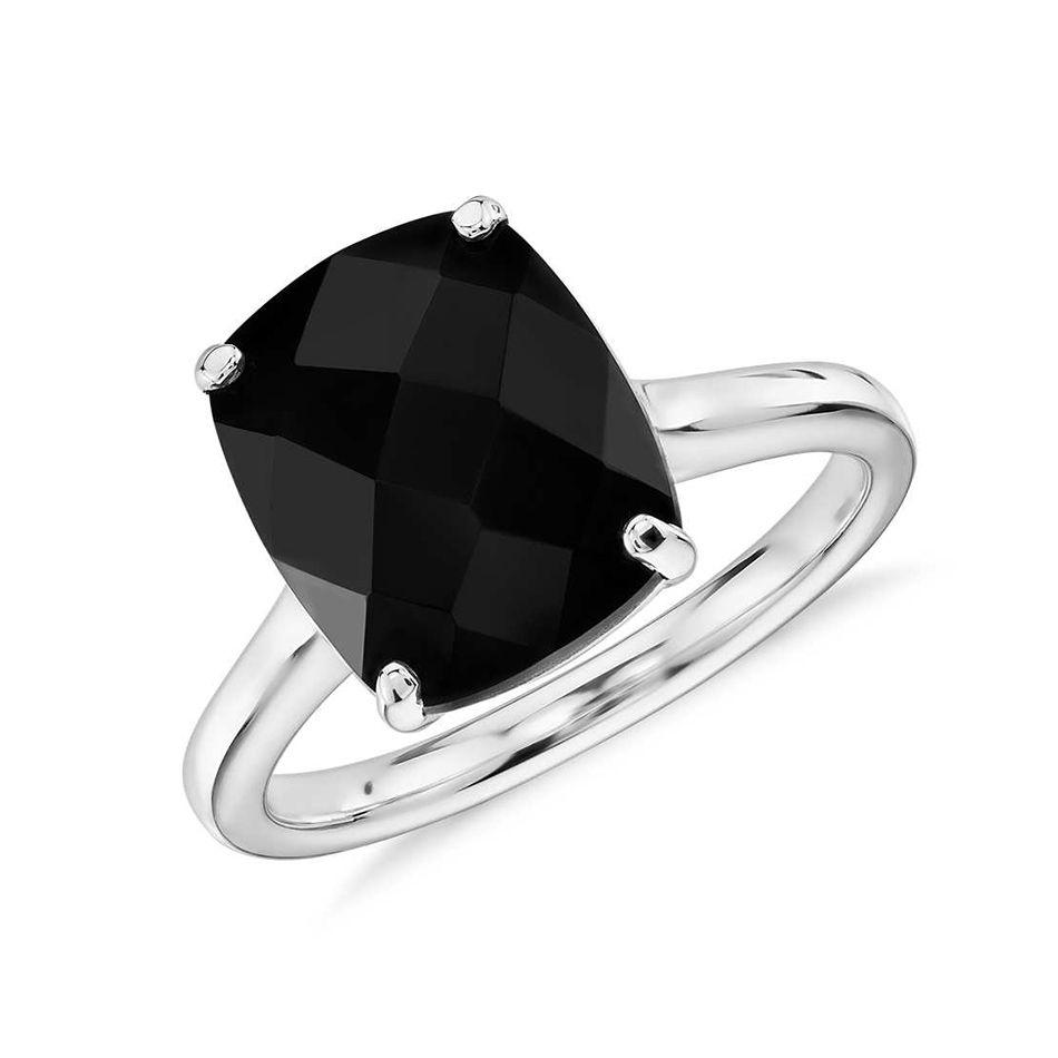 Black Onyx Cushion Ring