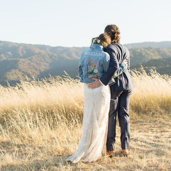 Bride in jean jacket with groom