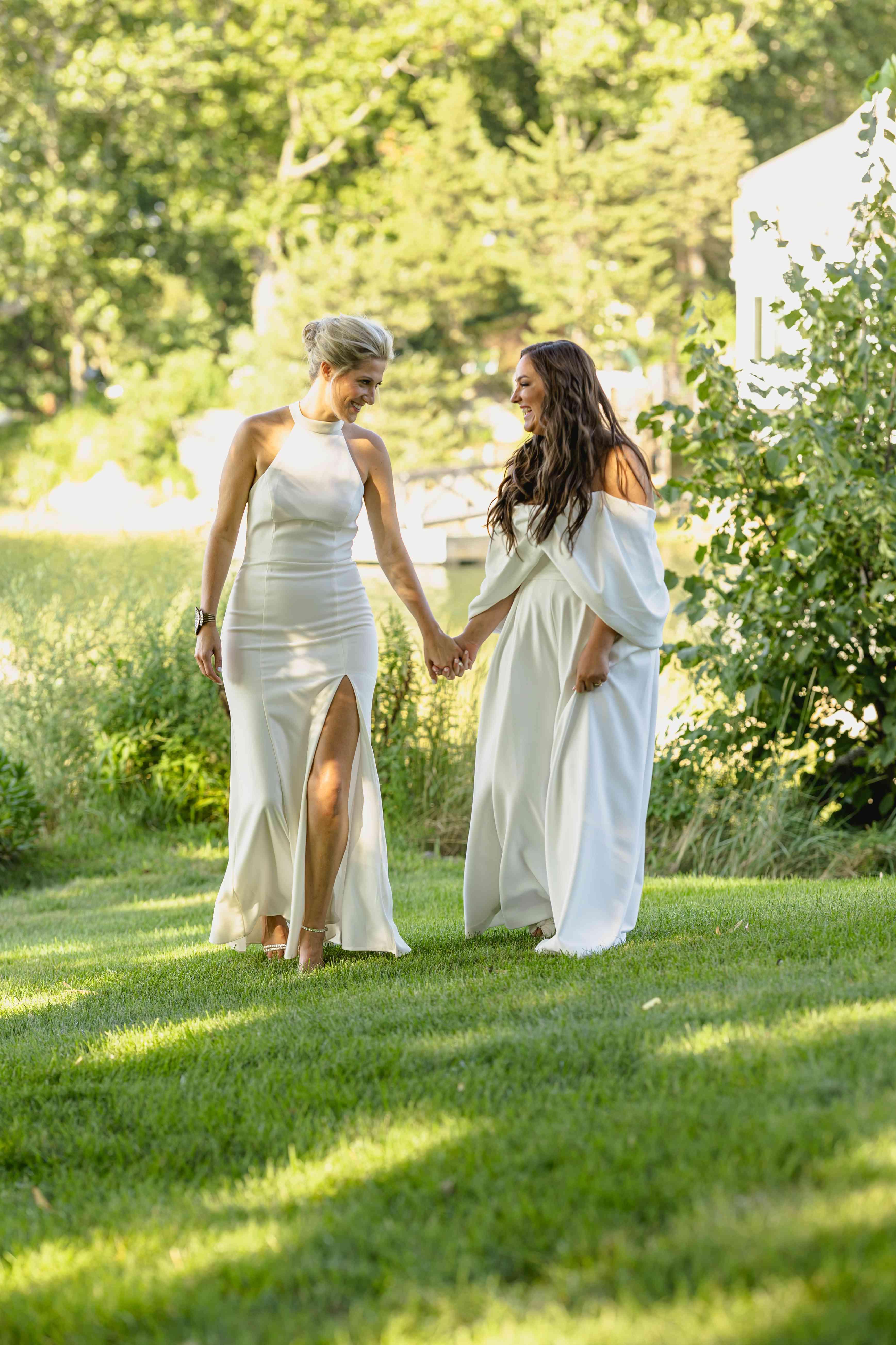 brides walking together