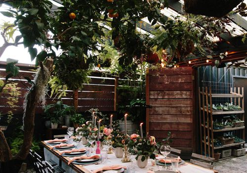 Bridal Shower Table-Setting with Greenery