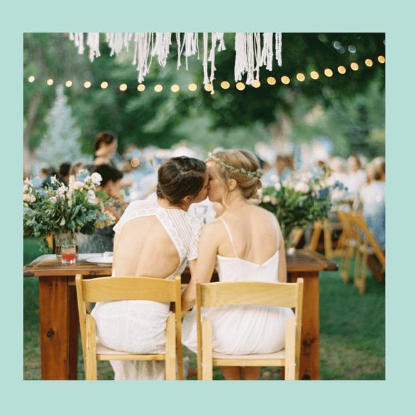 brides kissing