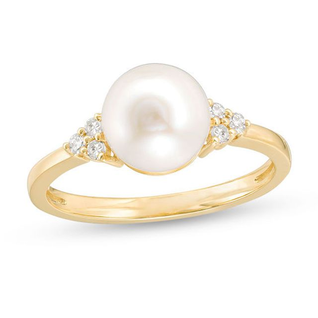 Zales Cultured Freshwater Pearl and Diamond Accent Tri-Sides Ring