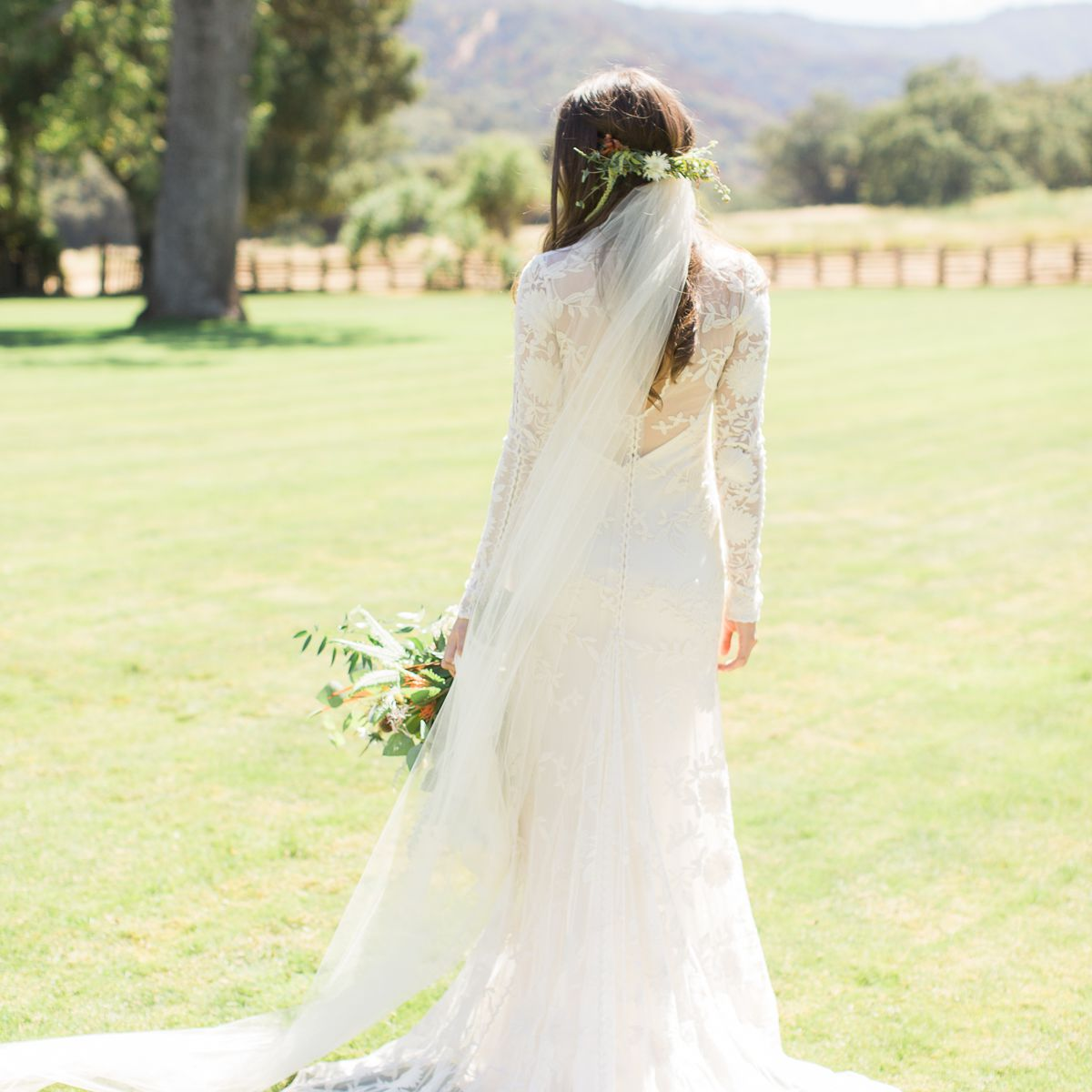 <p>Bride shot from the back</p><br><br>
