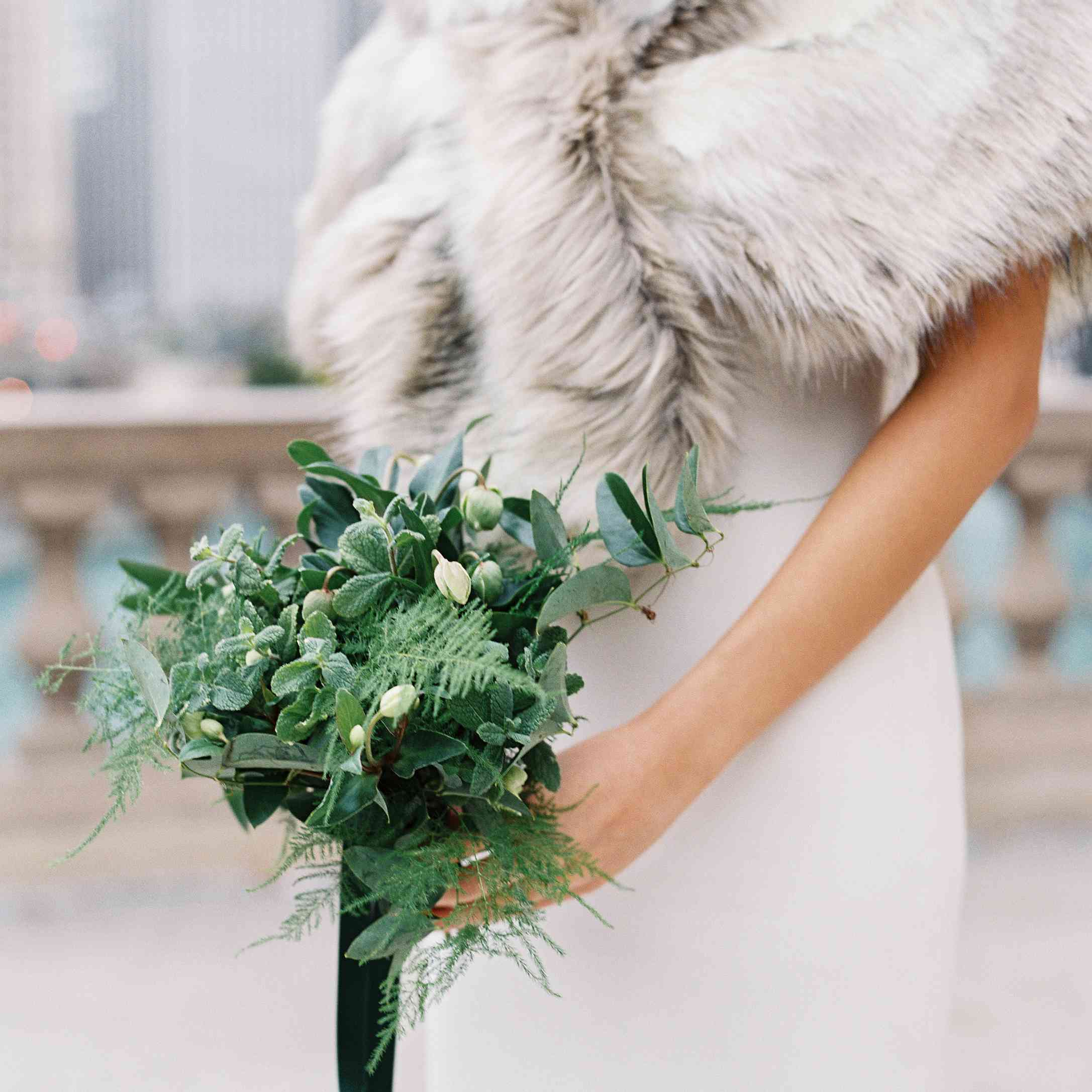 bridesmaids bouquets of just greenery