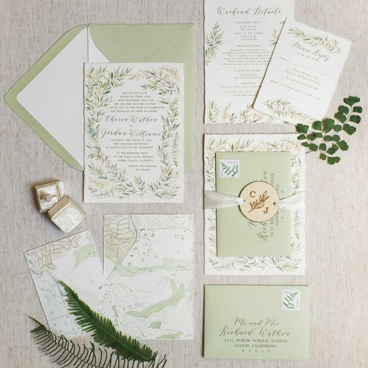 <p>Green wedding invitations</p><br><br>