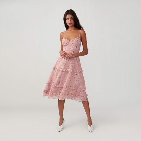 evening cocktail dress Pink chiffon asymmetric dress with lace top blush knee length dress bridesmaid dress dance dress