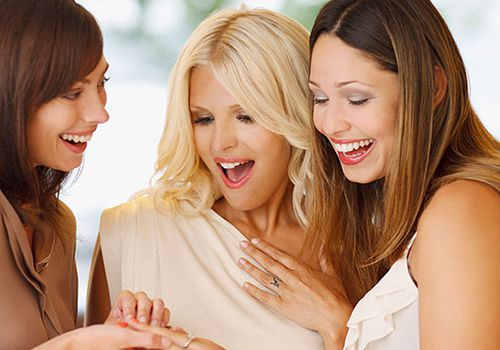 women looking at engagement ring on friend's finger