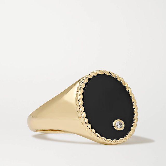 Yvonne Léon Onyx and Diamond ring