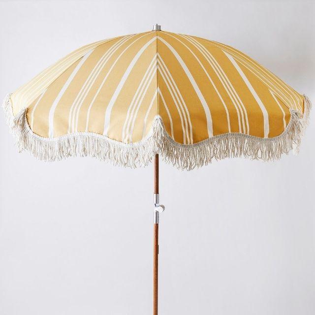 Food52 Vintage Inspired Stiped Premium Beach Umbrella