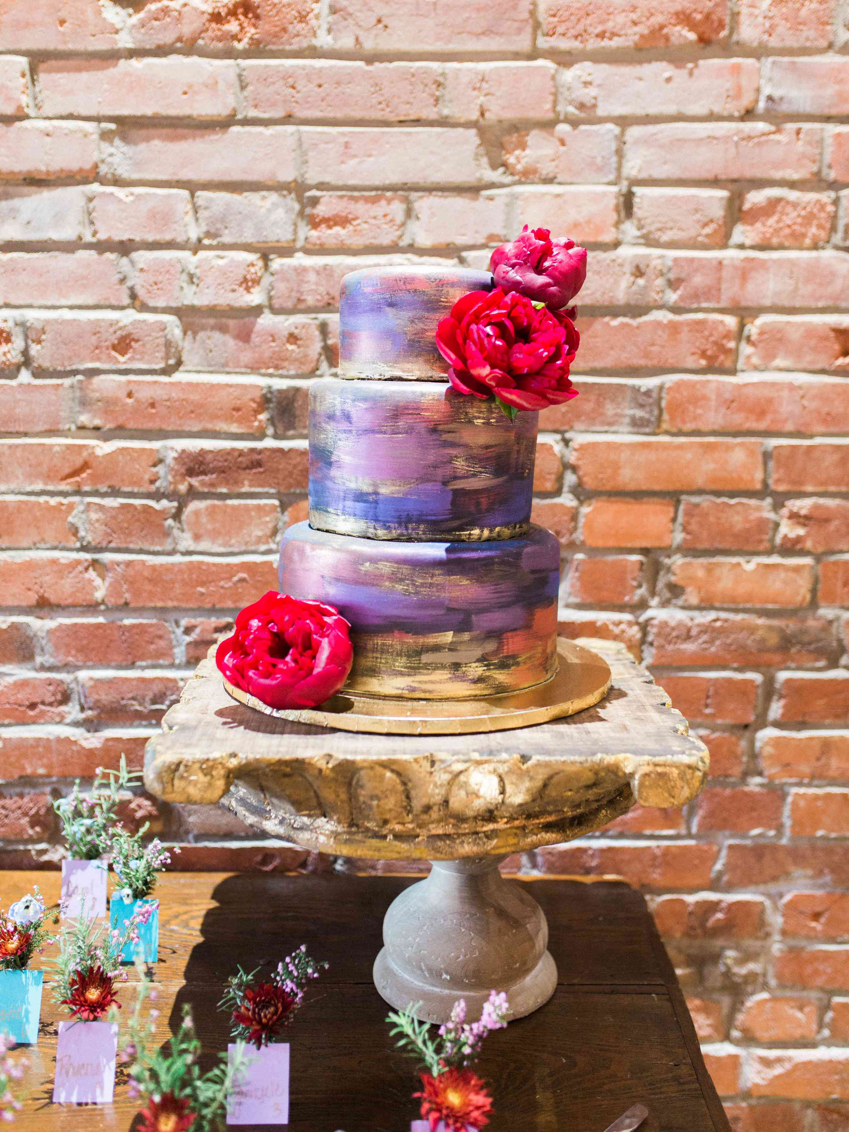 Modern Three-Tiered Multicolored Wedding Cake