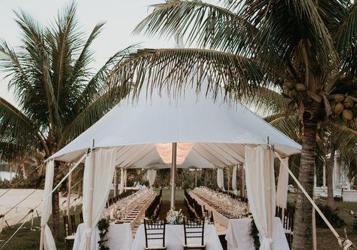 Wedding reception tent among palm trees
