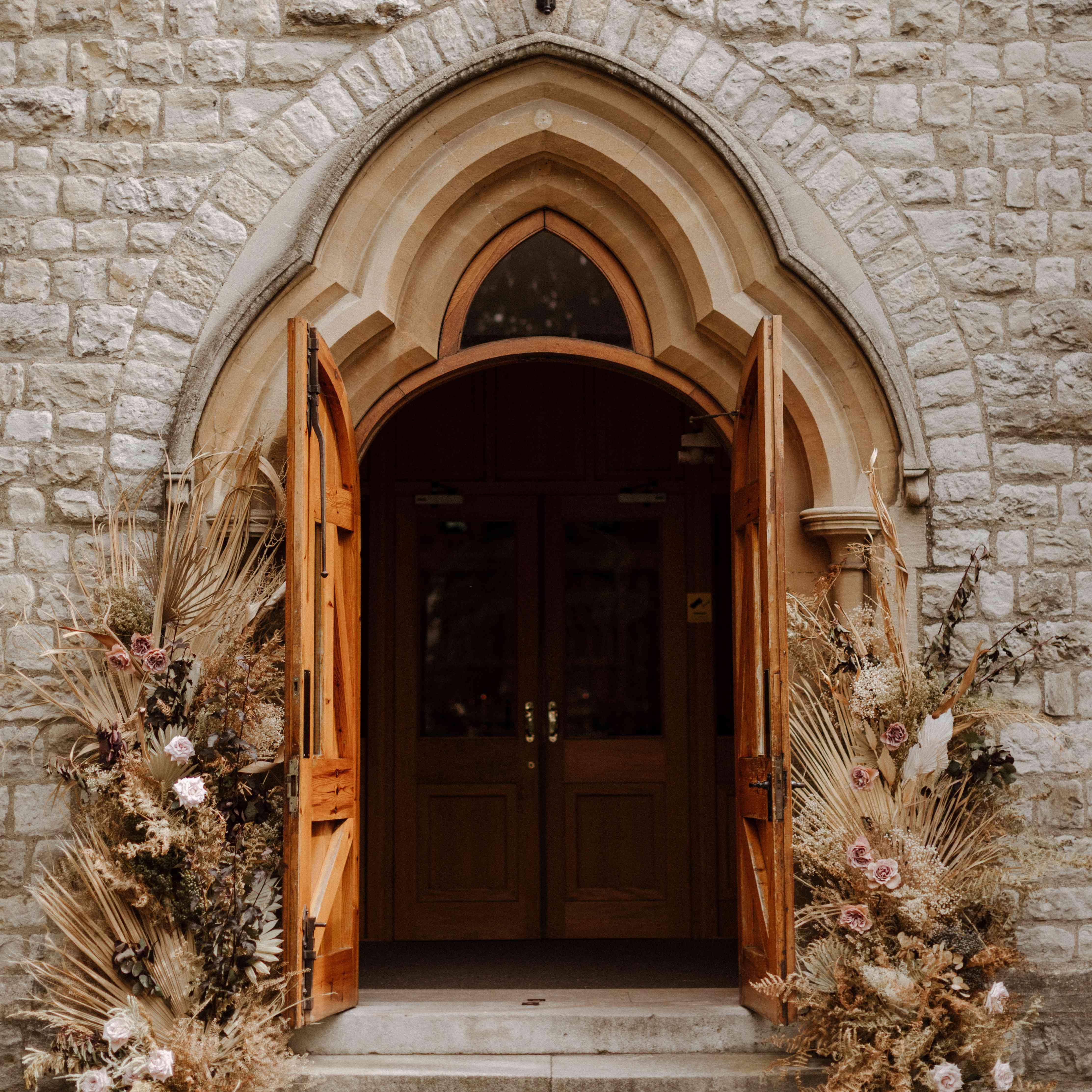Church door with florals