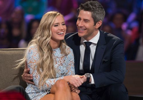 Arie Luyendyk Jr. and Lauren Burnham at the finale of The Bachelor.