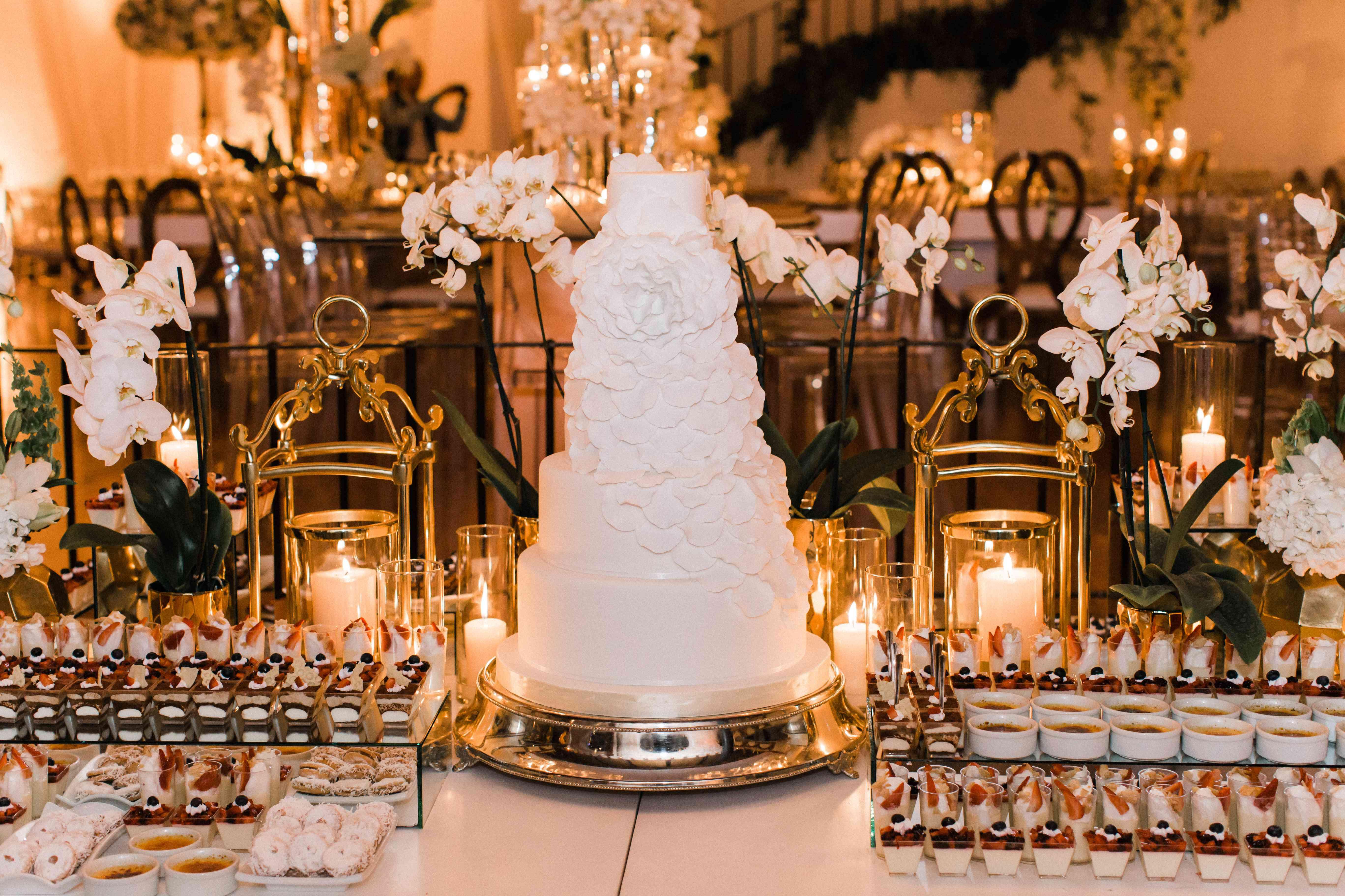 <p>wedding cake and dessert bar</p><br><br>