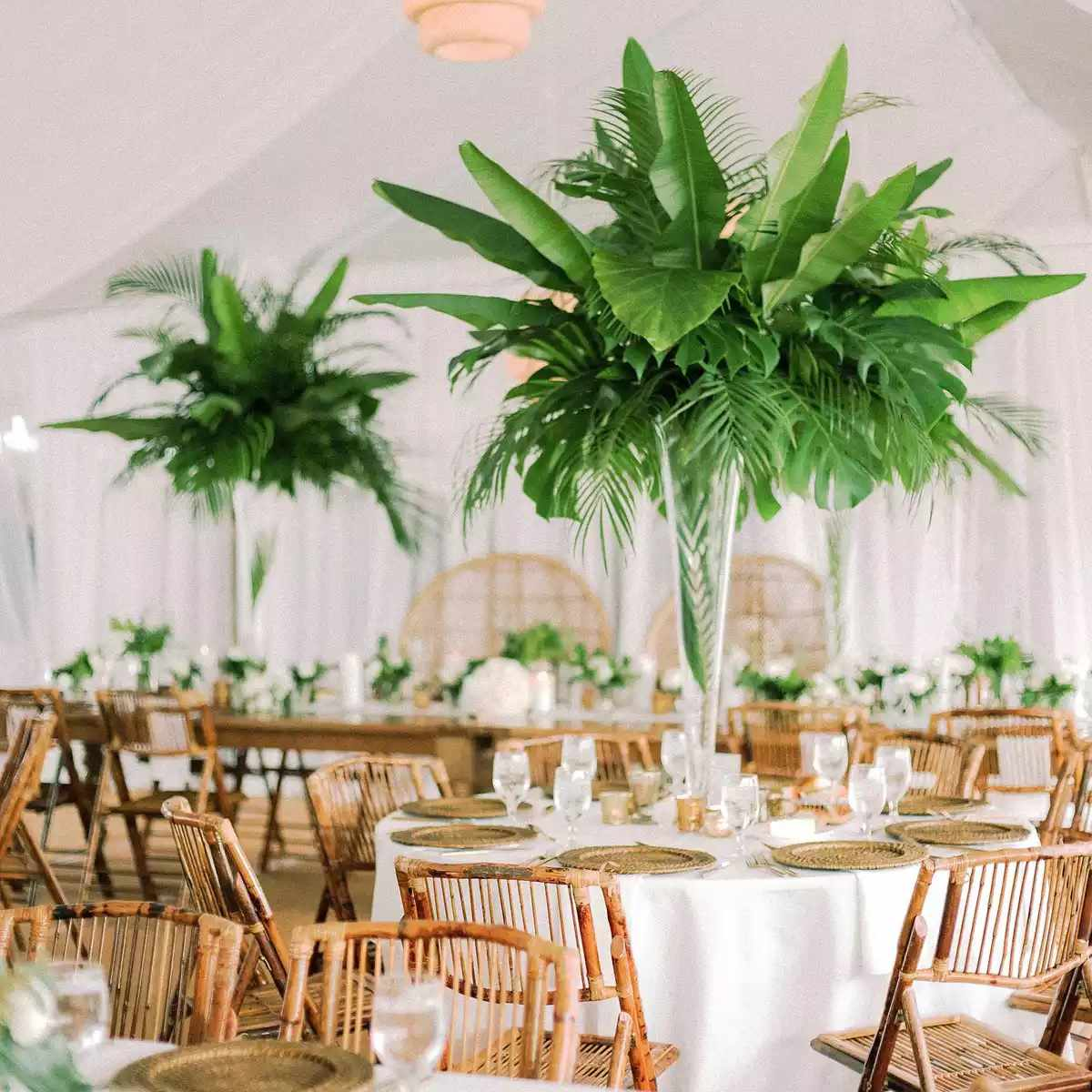 palm tree centerpieces