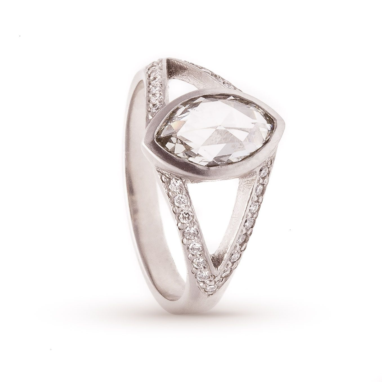 Rebecca Overman Rose Cut Marquise Pavé Platinum Ring