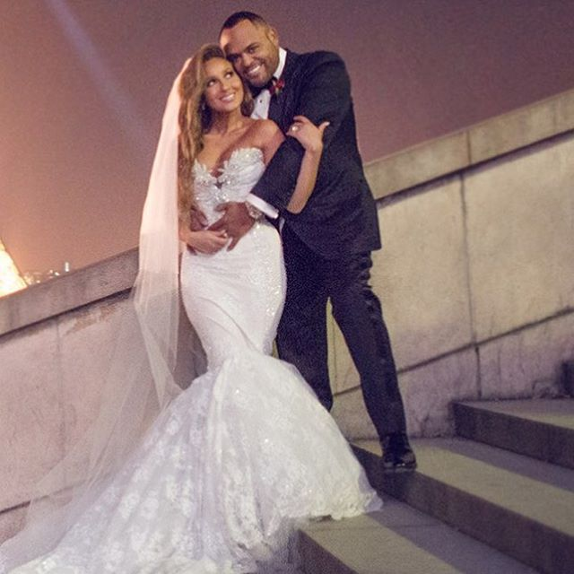 Adrienne Bailon and Israel Houghton on their wedding day.