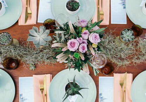 Tablescape with Succulent Favors